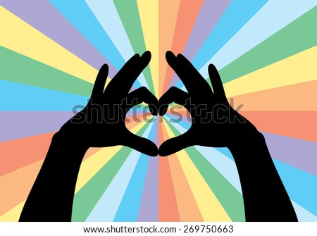 heart shape made with hands, rainbow background  - stock vector