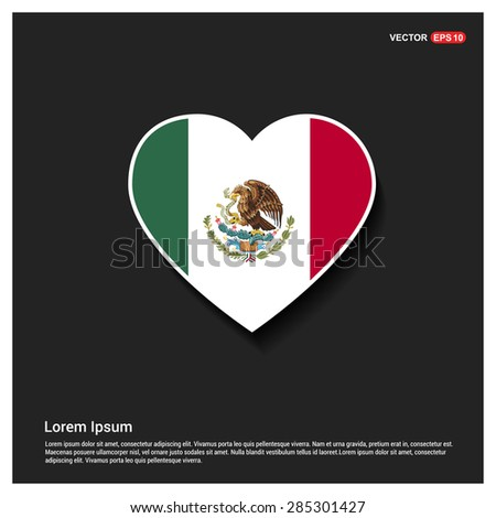 Heart Shape Mexico Flag - stock vector