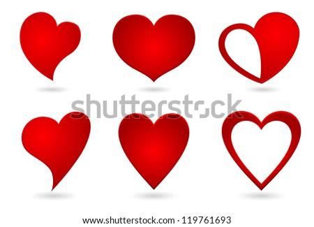 heart shape original design set - stock vector