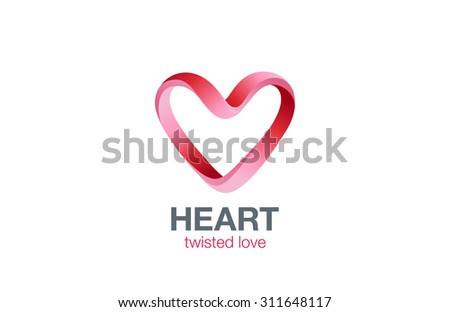 Heart shape Ribbon twisted Logo design vector template. St. Valentines day Love dating concept icon. Cardiology medical Logotype. - stock vector