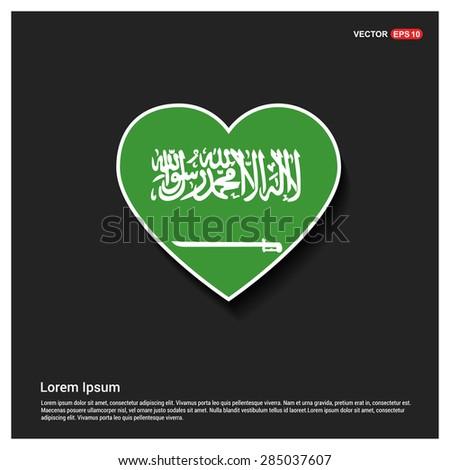 Heart Shape Saudi Arabia Flag - stock vector