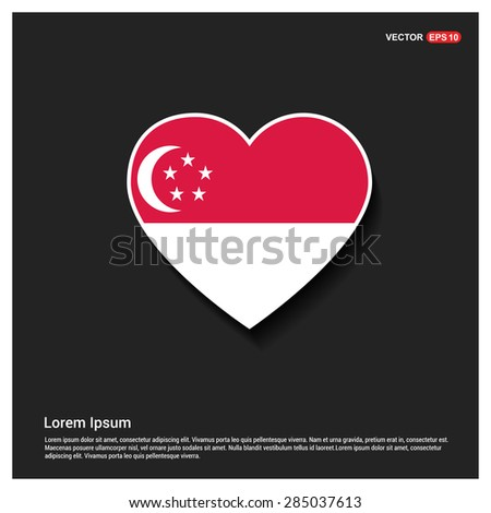 Heart Shape Singapore Flag - stock vector