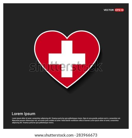 Heart Shape Switzerland Flag - stock vector
