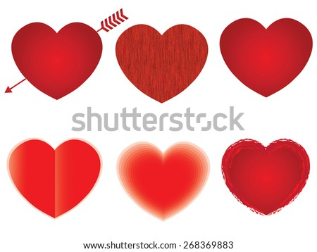 Heart shape vector design template collection. Happy Valentine's day! Love & Cardio elements icon. - stock vector