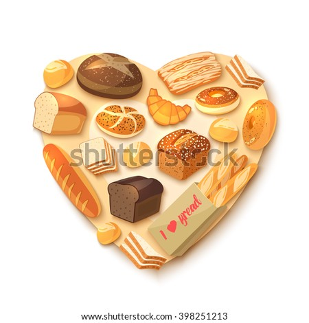 Heart-shaped bakery assortment with rye bread, ciabatta, wheat bread, whole grain bread, bagel, sliced bread, french baguette, croissant and so. Vector illustration, isolated on white, eps 10. - stock vector