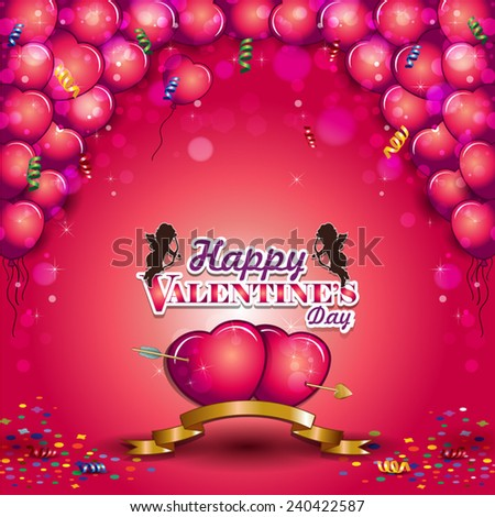 Heart shaped balloons for Valentine's Day-Transparency blending effects and gradient mesh-EPS 10 - stock vector