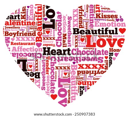 Heart Shaped Beautiful Valentine Themed Typographical Pattern made up of the many words representing Love and Affection. - stock vector