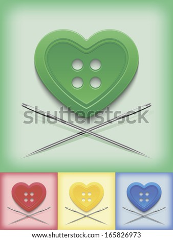 Heart-shaped button and crossed needles on a four colored background - stock vector