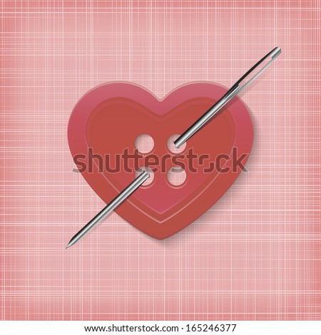 Heart-shaped button with a needle on a striped pink background. - stock vector
