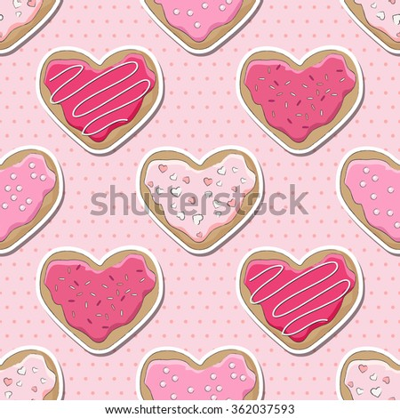 Heart shaped cookies, decorated for Valentine's Day, over a pink polka dot seamless background. EPS10 vector format - stock vector