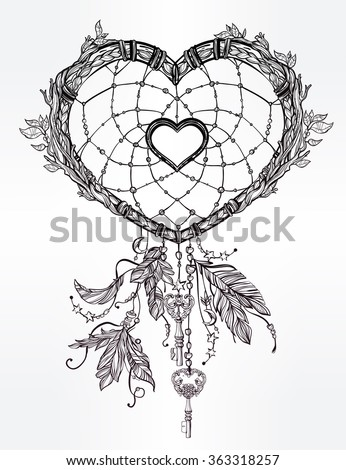 Heart shaped dream catcher with feathers. - stock vector