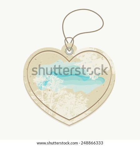 Heart-shaped eco friendly sale garment tag design on recycled craft carton, vector illustration - stock vector