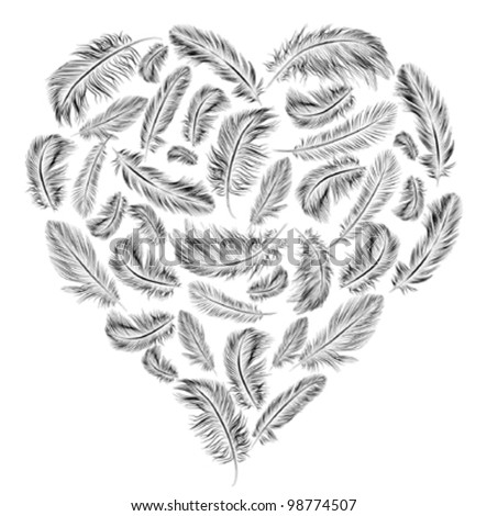 Heart shaped feathers - stock vector