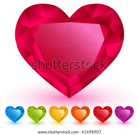 Heart-shaped gemstones set - stock vector