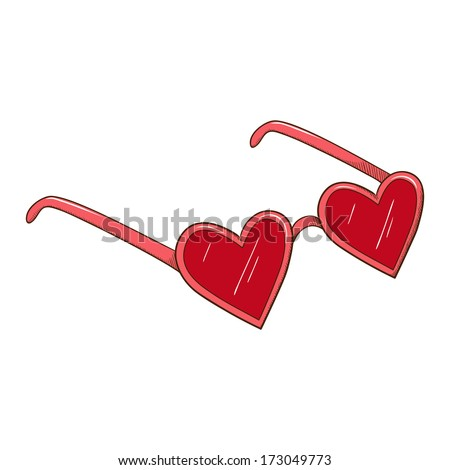 Heart shaped glasses. Sketch vector element for romantic design - stock vector