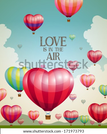 Heart-shaped hot air balloons taking off with a vintage effect - stock vector