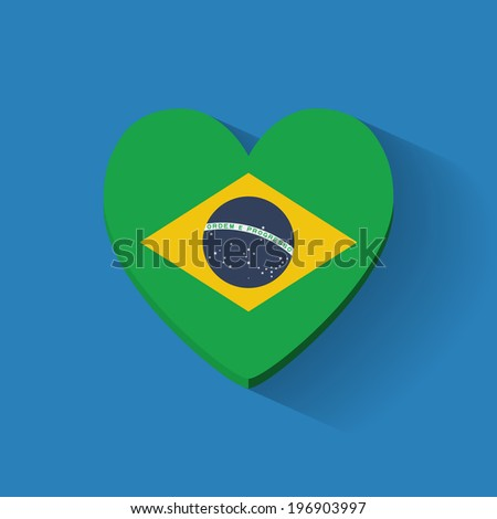 Heart-shaped icon with national flag of Brazil. Flat design. - stock vector