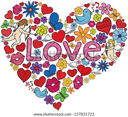 Heart shaped illustration made with several love related doodles. - stock vector