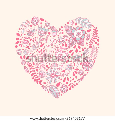 Heart shaped love vector cute pattern - stock vector