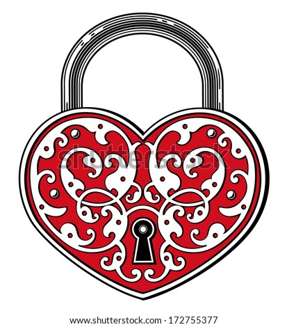 Heart shaped padlock in vintage engraved style - stock vector