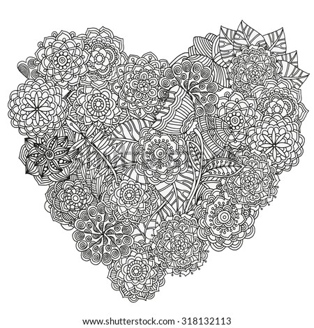 heart-shaped pattern for coloring book. Floral, retro, doodle, vector, design element. Black and white background. zentangle - stock vector