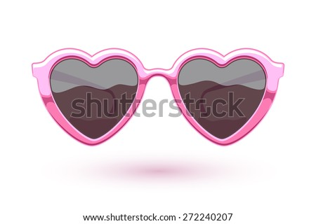 Heart shaped pink metallic sunglasses illustration. Eye wear logo design. Love symbol. - stock vector