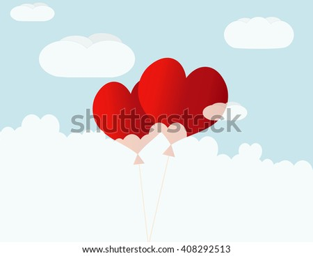 Heart shaped red air balloons in blue sky. Valentines Day background. - stock vector