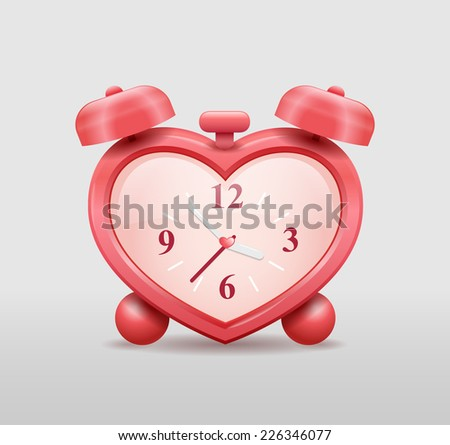 Heart shaped red alarm clock - stock vector
