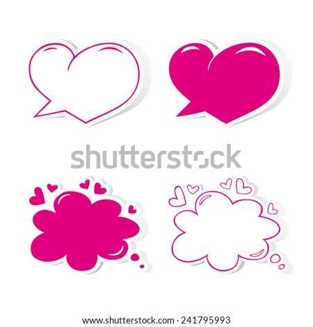 Heart shaped speech bubbles set. Design elements for Valentine's day, wedding or baby shower invitation, scrapbooking etc. Vector illustration - stock vector
