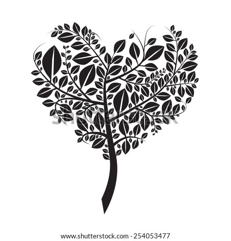 Heart Shaped Tree Silhouette Vector Illustration Isolated on White - stock vector