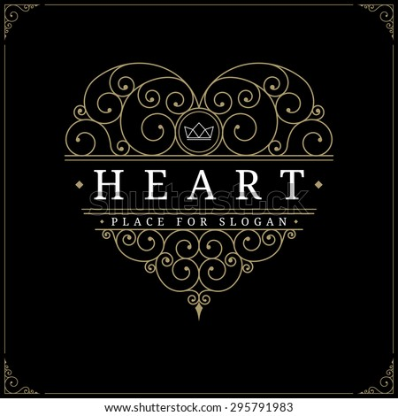 Heart-shaped vintage luxury logo template with flourishes elegant calligraphic design elements. Restaurant, boutique, cafe, hotel, jewelry, heraldic identity. Wedding symbol. Vector illustration - stock vector