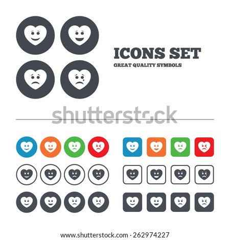 Heart smile face icons. Happy, sad, cry signs. Happy smiley chat symbol. Sadness depression and crying signs. Web buttons set. Circles and squares templates. Vector - stock vector