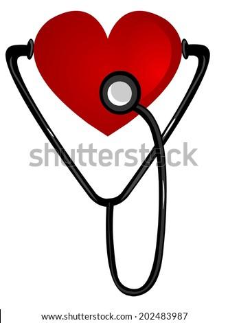 heart stethoscope - stock vector