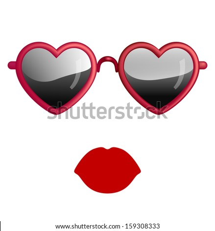 Heart Sunglasses And Lips Isolated On White - stock vector