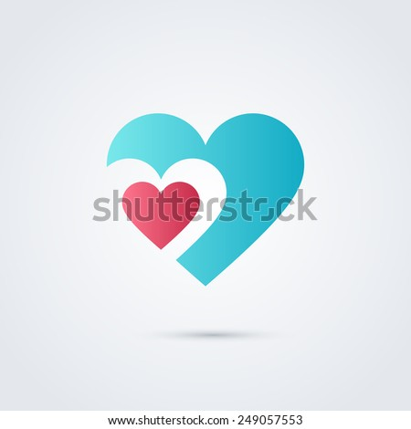 Heart symbol design template icon. Colorful emblem. May be used in medical, dating, Valentines Day and wedding design.  - stock vector