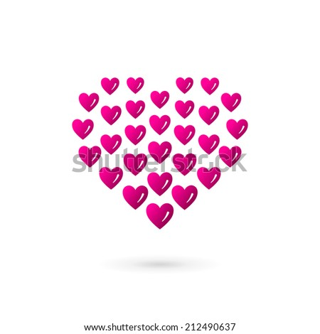 Heart symbol logo icon design template. Vector sign. May be used in medical, dating, Valentines Day and wedding design. - stock vector