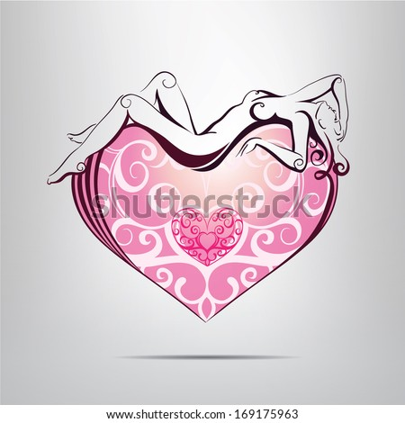 Heart symbol with the silhouette of a woman inside. vector illustration - stock vector
