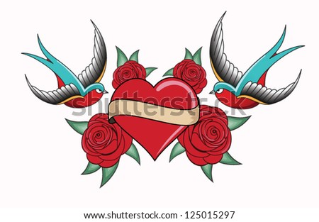 heart tattoo emblem - stock vector