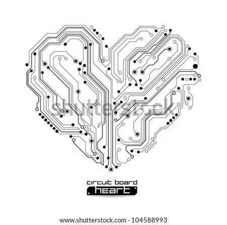 heart technology vector background - stock vector