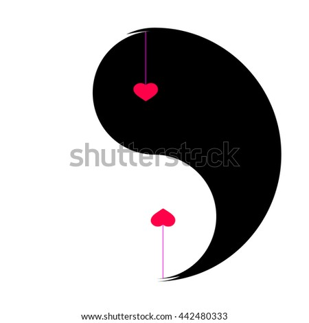 Heart vector black and white. Heart vector art. Heart vector image. Two hearts over white and black background. - stock vector