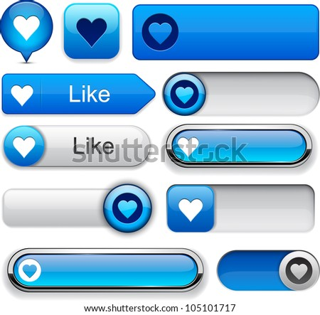 Heart web blue buttons for website or app. Vector eps10. - stock vector