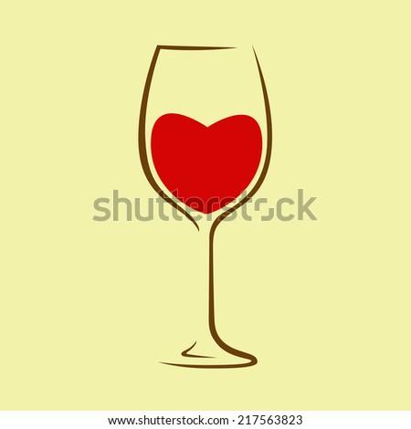 Heart. Wine glass. Red wine. - stock vector