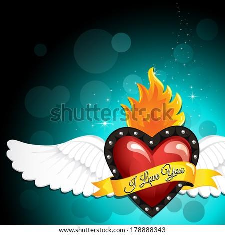 Heart Wings - stock vector