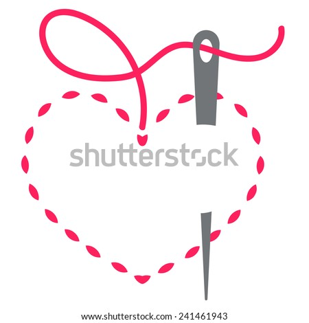 heart with a needle thread. vector illustration - stock vector