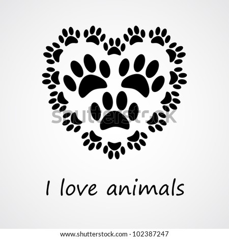 Heart with animal's footprints - stock vector