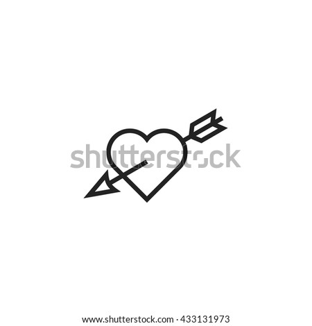 Heart with Arrow Outline Icon - stock vector
