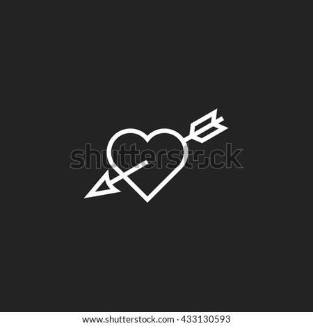 Heart with Arrow Outline Icon, White on Black Background - stock vector