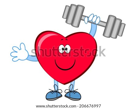 Heart with dumbbell . - stock vector