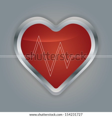 Heart with ecg and  with ekg line.vector - stock vector