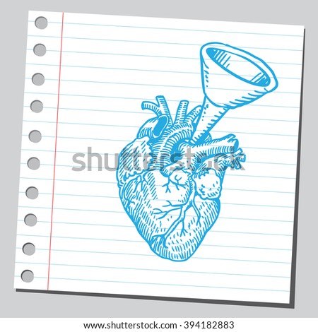 Heart with funnel - stock vector